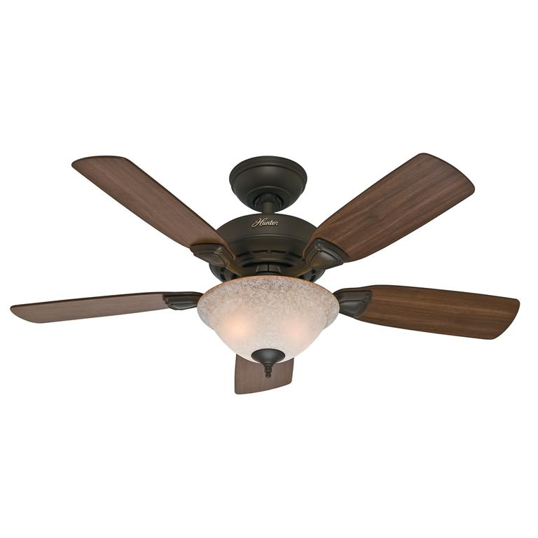 """HUNTER 44/"""" Caraway /""""New Bronze/"""" Ceiling Fan with Light Model #52082"""